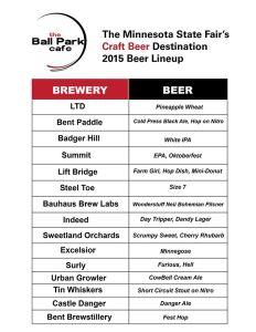 Ball Park Cafe Beer List